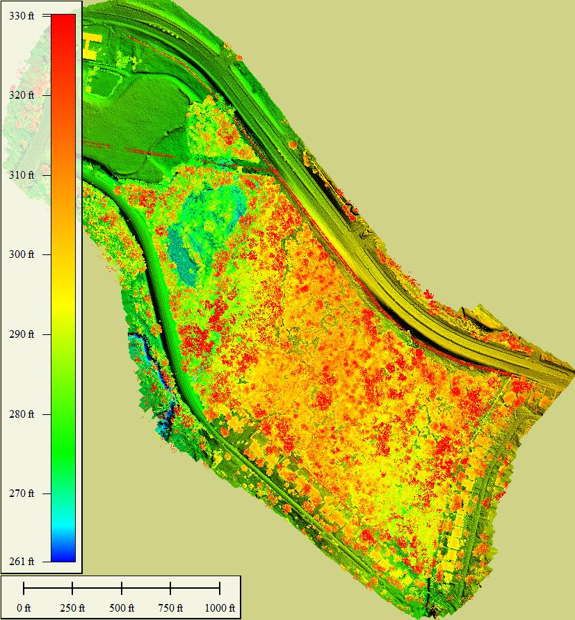 Sample Front Elevation Map : Elevation map with trees wheeler ridge texas drone