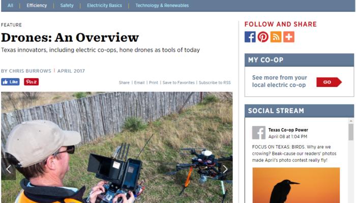 Texas Co-op Power Magazine Drone LiDAR